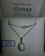 Collana oro giallo 750 18 kt e ciondolo perla con cristalli,GRAMMI 2.4/25 NUOVO