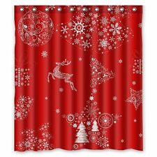 HOLIDAY Bathroom SHOWER CURTAIN Christmas Red White Reindeer Tree Gifts 66x72 In
