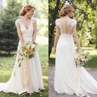 Boho Beach White/ Ivory Lace V Neck Chiffon Wedding Dresses Bridal Gowns Custom