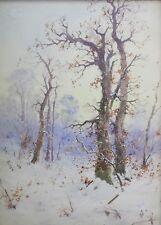 Ancien et grand paysage de neige signé clermont riom Auvergne école de Murol ?