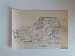 Antique Latvia Drawing Two Men Pull Out a Large Stone