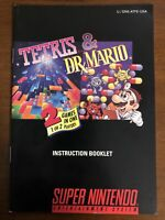 Tetris & Dr Mario Instruction Booklet Super Nintendo SNES Original Manual Only