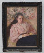 Junge Frau mit langen Haaren, großes Portrait, Impressionist 1897, signiert