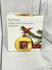 Brookstone My Life Digital Photo Tree Ornament Gold Stores Up To 125 Photos New