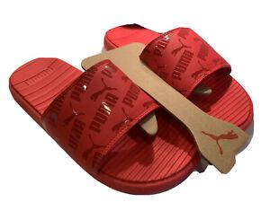 PUMA Mens sz 9 Red Comfort Athletic Sport Slides Shoe Sandals Cool Cat Logo