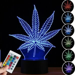 US Maple Leaf 3D LED Light Lamp Acrylic Color Changeable Remote Control USB 5V