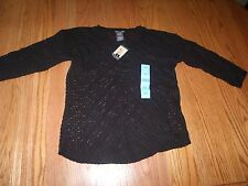 NWT WOMENS CHELSEA & THEODORE LONG SLEEVE CROCHET SWEATER BLACK LARGE L
