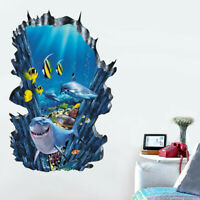 3D Underwater World Wall Stickers Cartoon Shark Decal Living Room Home Decor