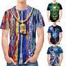 Mens Boy 3D Print Tees Shirt Top Blouse Casual Slim Fit Short-sleeved Shirts J