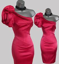 KAREN MILLEN Coral Pink Silk One Shoulder Ruffle Glam Cocktail Pencil Dress 10