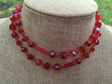 HDMD by Cyndi Necklace of Multi Shaped Red Glass Beads with Round Glass Pearls