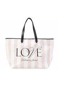 "Victoria's Secret ""LOVE"" PINK STRIPED Tote Shopper Handbag NWT Canvas NEW $48"