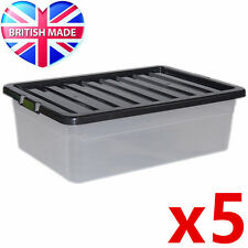 5 x 32L 32 Litre Underbed Large Plastic Storage Clear Box Stackable Container
