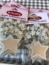 Craft Embellishments Silver Celebrations Stars x 5