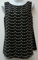 White House Black Market Small Top Shirt Blouse Cami Sequins Embroidered Womens
