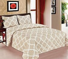 Geometric 3-PC Quilted Bedspread Bed cover Coverlet Many Colors All sizes Sale