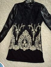 BLACK MESH FAUX LEATHER EMBROIDERED LONG TORSO LONG SLEEVE TUNIC TOP XS