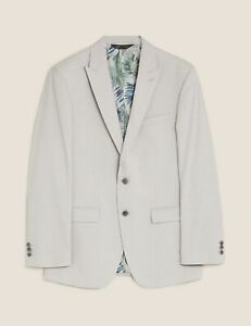 M & S Luxury Pastel Grey Tailoured Fit Jacket with Stretch 48 Short NWT RRP £70
