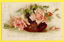 "cpa Postkarte LITHO signée C. KLEIN Meissner & Buch LEIPZIG ""ROSEN"" Fleurs ROSES"