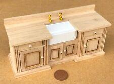 1:12 Scale Natural Finish Smallbone Sink Unit Tumdee Dolls House Kitchen 211