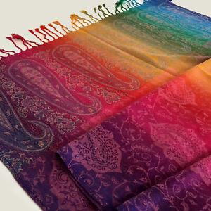 Pink Ladies Long Bright Rainbow Multi Colour Paisley Scarf Pashmina Shawl Wrap