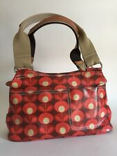 Orla Kiely etc Small HandBag With 60s Stem Flowers In Red And Beige Oilcloth