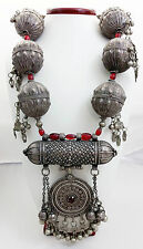 Antique Yemeni Wedding Prayer Box Pendant Necklace w/ Sterling Silver Beads