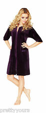 Womens Cotton Robe Housecoat Dressing Gown Dress Velour Bathrobe Zip Up UK 10-20