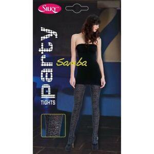 Ladies Silky Party Samba Tights Rose Lurex Silver Black Size M NEW