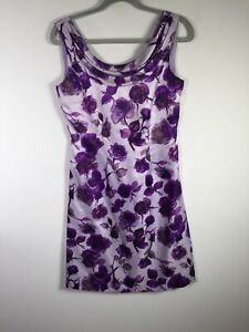 Phase Eight womens purple floral fit and flare dress size 10 sleeveless zip