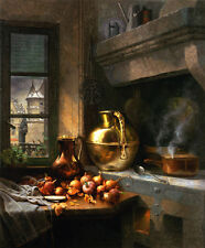 Oil painting Edwin Deakin Kitchen Corner with Onion Copper pot no framed canvas