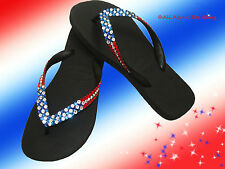 Havaianas flip flops or wedge using Swarovski Crystals PATRIOTIC Flag Design