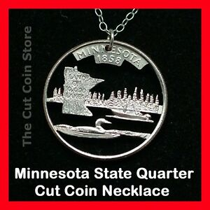 Minnesota Cut Coin Pendant Charm Necklace 25¢ MN Quarter Land of 10000 Lakes