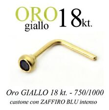Piercing naso nose in ORO GIALLO yellow GOLD 18kt. con ZAFFIRO intenso SAPPHIRE