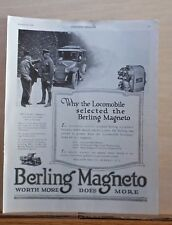 1919 magazine ad for Berling Magneto - Gen. Pershing Locomobile, Clemenceau, WW1