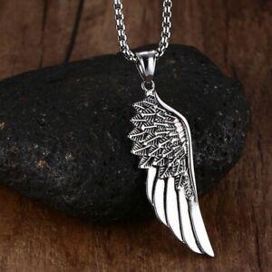 Collier pendentif homme acier inoxydable plume aile ange argenté