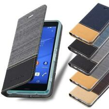 Wallet Case for Sony Xperia Book Cover Jeans Look Flip Etui Stand