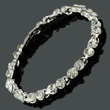 Rhinestone Zirconia 18K White Gold Gp Topaz 7inch Tennis Bracelet Extended Clasp