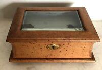 Belle boite bijoux verre biseauté intérieur soie recouvert cuir 1900 JEWELS BOX