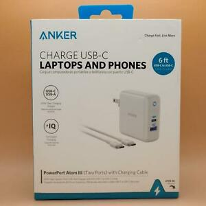 Anker PowerPort Atom 3 III 60W PD Charger USB C with 6Ft Charging Cable PIQ 3.0