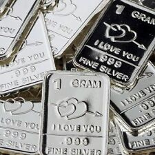BEVS' silver drawer: 1 one Gram SOLID SILVER * I LOVE YOU *.999 pure silver BAR