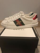 GUCCI ACE MEN'S LOW TOP WEB BEE WHITE LEATHER SNEAKERS SHOES 6 G/US 7