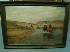 """31"""" BY 43"""" FRAMED WESTERN COWBOY PAINTING SIGNED H.CARLSON"""