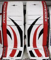 "New Powertek Barikad Goal goalie leg pads red/black 28"" Jr junior ice hockey pad"