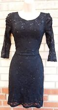 EVIE BLACK FLORAL LACE CROP LONG SLEEVE SEQUIN PARTY XMAS BODYCON DRESS 8 S