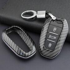 FOR Peugeot/Citroen/DS Carbon Fiber Hard Shell Smart Key Fob Chain Case Cover 4S