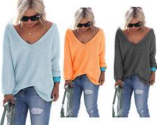 Sexy Pullover mit V-Ausschnitt Pulli Einheitsgröße Oversize S/M/L 36/38/40 (617)