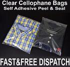 CLEAR CELLOPHANE CELLO BAGS DISPLAY GARMENT SELF ADHESIVE PEEL SEAL PLASTIC OPP