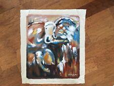 """ELEPHANTS"" acrylic on Canvas Signed original Fine Painting by A.Pushkareva24X20"