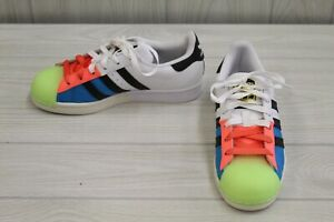 adidas Superstar FX8780 Casual Sneakers, Big Kids Size 4, White/Multicolor
